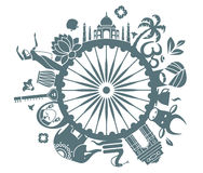 Symbols of India. Traditional symbols of India in the form of a circle Stock Photo