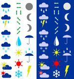 Symbols for the indication of weather. A vector illustration. A dark and light background Stock Image