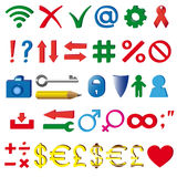 The symbols and indicia used on the Internet. The most common three-dimensional symbols and signs used in the Internet royalty free illustration