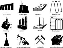 Symbols of industrial objects Royalty Free Stock Photography