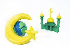 Symbols of Islam. Objects made from Play Clay. Abstract isolated photo Stock Image