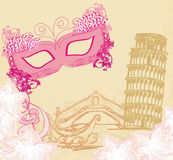 Symbols italians - the carnival mask, Venice, gondola,Pisa tower Stock Photos