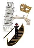 Symbols of Italy. Italian symbols as Pisa tower, wine, Venetian mask and gondola
