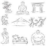 Symbols of Japanese culture. Beautiful Set of  sketches of symbols of Japanese culture Stock Photography