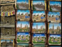 Symbols of Jerusalem on magnet souvenirs from the Holy Land royalty free stock photography
