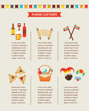 Symbols of Jewish holiday purim. infographics design Royalty Free Stock Photography