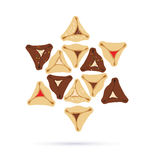 Symbols of Jewish holiday purim. infographics design Stock Images
