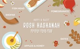 Symbols of Jewish holiday Rosh Hashana, New Year. Infographic poster. vector template. happy and sweet new year in vector illustration