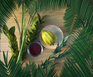 Symbols of the Jewish holiday Sukkot with  glass wine Stock Image