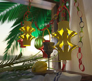 Symbols of the Jewish holiday Sukkot with  glass wine Royalty Free Stock Images