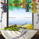 Symbols of the Jewish holiday Sukkot with palm leaves. And sea beach Stock Image