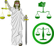 Symbols of Justice. Justice symbols. Lady justice, and two sets of scales stock illustration