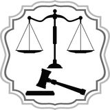Symbols of Justice - scales and hammer Stock Image