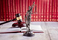 Symbols of law in court  library Royalty Free Stock Photography