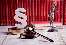 Symbols of law in court  library. Royalty Free Stock Photography