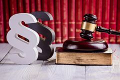 Symbols of law in court library Royalty Free Stock Image
