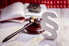 Symbols of law in court  library Royalty Free Stock Photo