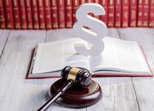 Symbols of law in court  library Stock Photography