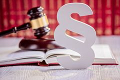 Symbols of law in court  library Royalty Free Stock Photos