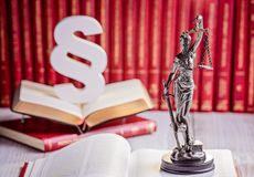 Symbols of law in court library. Royalty Free Stock Images