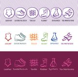 Set of six simple vector contour shoe material icons Royalty Free Stock Photography