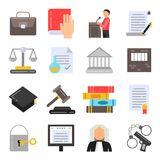 Symbols of legal regulations. Juridical icons set in flat style. Legal juridical, tribunal and judgment, law anb gavel, vector illustration Stock Photo