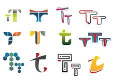 Symbols of letter T. Set of alphabet symbols of letter T vector illustration
