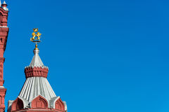 The symbols of the lion and the unicorn on the spire of the Hist Stock Photography