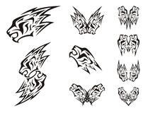 Symbols of the lions head in the form of a lightning Stock Photos