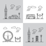 Symbols of London city in skyline Royalty Free Stock Photos