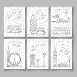 Symbols of London city in skyline Royalty Free Stock Image