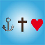 Symbols love, faith, hope. Three symbols anchor,cross and heart on blue background. Vector illustration Royalty Free Stock Photography