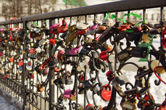 Symbols of love - locks on a fence, Yekaterinburg Stock Image