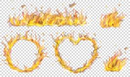 Symbols made of fire flame. Translucent heart, ring, campfire and long banner of fire flame on transparent background. Transparency only in vector format royalty free illustration