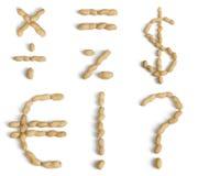 Symbols Made of Peanuts Royalty Free Stock Photos