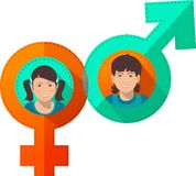 Symbols of Male and Female Royalty Free Stock Images