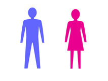 Symbols of male and female pink and blue. Royalty Free Stock Photography