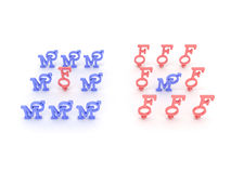 Symbols of male and female pink and blue. 3D Stock Photography