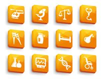 Set of medical buttons. Symbols of medicine and pharmacology on yellow buttons Royalty Free Stock Photo