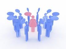 Symbols of men around the women talking. 3D Royalty Free Stock Photography