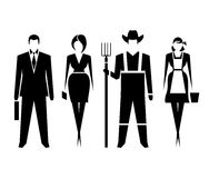 Symbols of men and women. Man, woman as well as farmers. Vector symbols Royalty Free Stock Photos