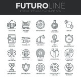 Symbols and Metaphors Futuro Line Icons Set. Modern thin line icons set of various business symbols and metaphor elements. Premium quality outline symbol vector illustration