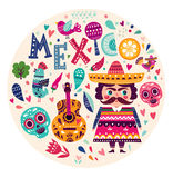 Symbols of Mexico. Vector colorful illustration with symbols of Mexico Royalty Free Stock Photo