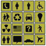 Symbols of Modern Life on Textured Squares Royalty Free Stock Photo