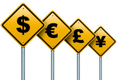Symbols of monetary currencies in the world on the road signs. stock illustration