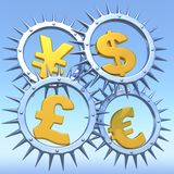 Symbols of money. 3D illustration of monetary symbols Stock Photos