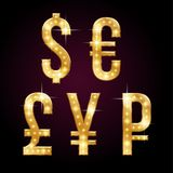 Symbols of money. Golden shining symbols of money currencies with sparkling LEDs. Glamorous alphabet for your design on dark background stock illustration