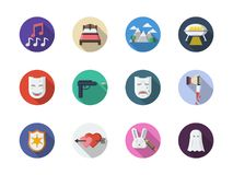 Movie genres flat round color icons set. Symbols of movie genres. Musical, comedy, western and other cinema themes. Collection of round flat color icons Stock Photos