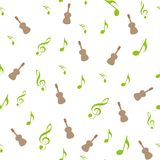 Symbols of Music. Sixteenth, Eighth, quarter and half note with treble and bass clef royalty free illustration