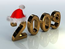 Symbols of New Year. Golden symbols of new year in christmas hat stock illustration